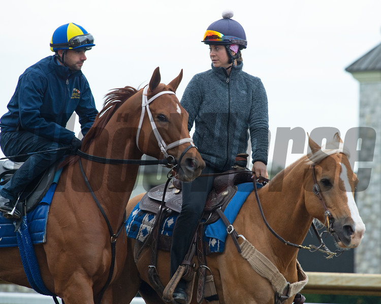 Caption: Monomoy Girl with Florent Geroux<br /> Keeneland scenes and horses on April 25, 2020 Keeneland in Lexington, KY.