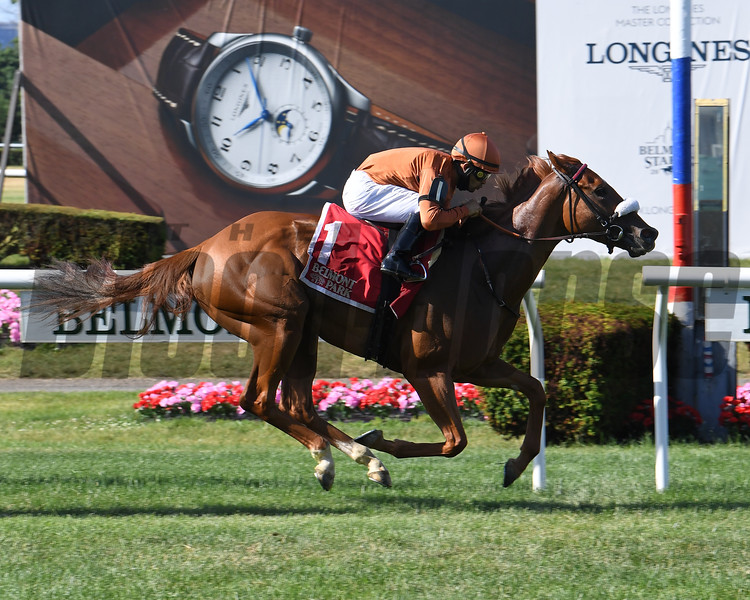 Bredenbury wins the Lady Shipman Stakes Sunday, June 21, 2020 at Belmont Park. Photo: Coglianese Photos/Chelsea Durand