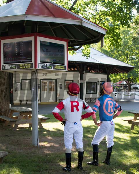Tyler Gaffalione and Jose Ortiz watch the Haskell <br /> Coglianese Photos/Susie Raisher