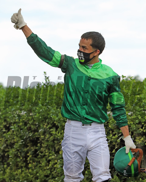 Irad Ortiz after winning the 83rd Running of the Delaware Handicap (GII) at Delaware Park on July 11, 2020. Photo By: Chad B. Harmon