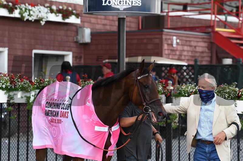 Paris Lights wins the 2020 Coaching Club American Oaks at Saratoga. Photo: Coglianese Photos/Susie Raisher