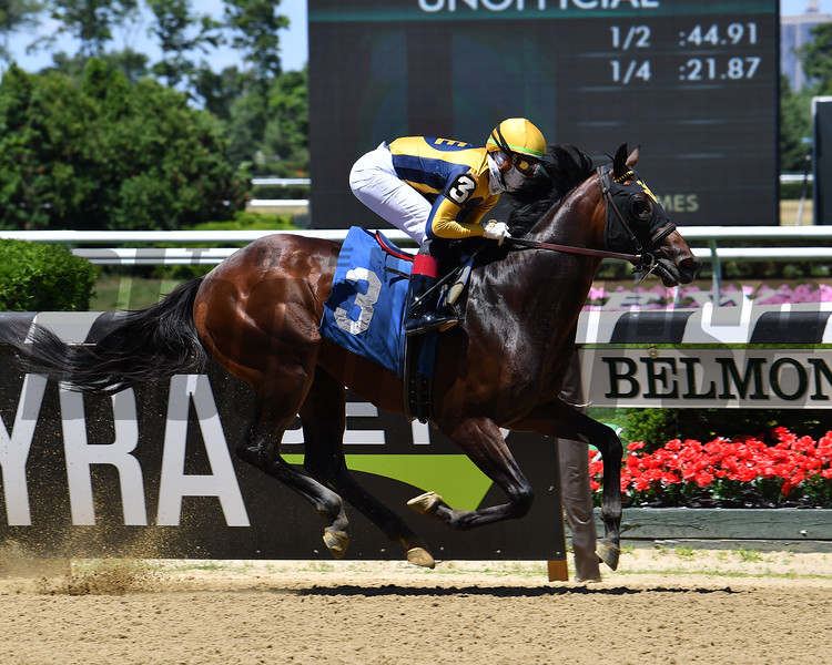 Roderick wins a maiden special weight Sunday, June 21, 2020 at Belmont Park. Photo: Coglianese Photos