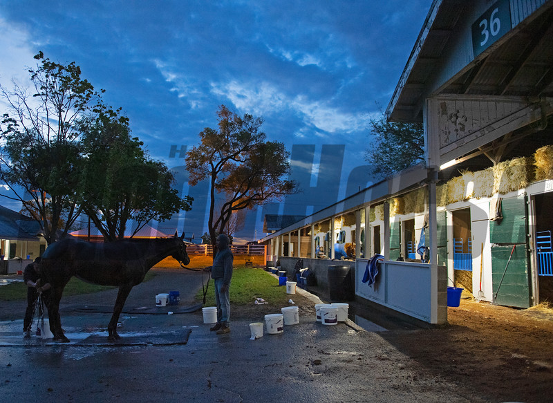 Caption: bathtime before sunrise about 6:30<br /> Midnight Bisou at Keeneland on May 2, 2020 Keeneland in Lexington, KY.