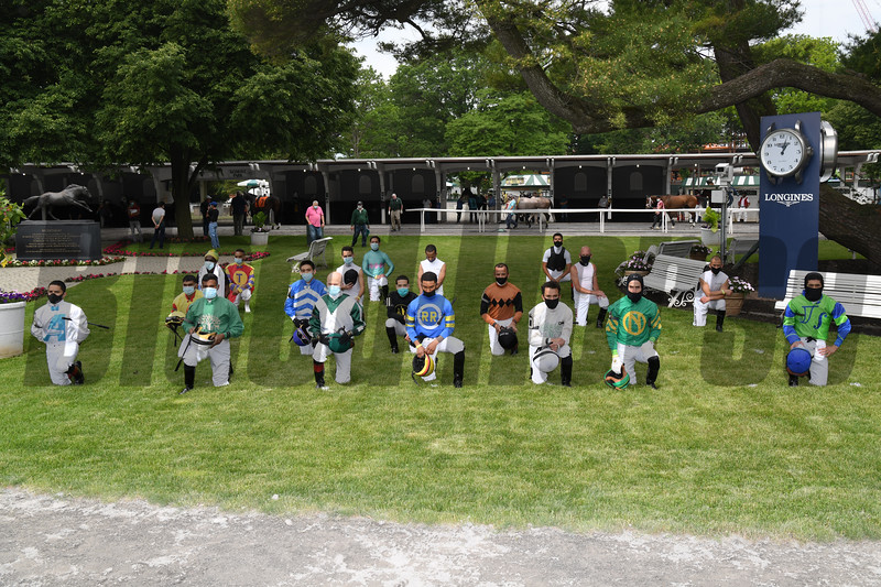 Belmont Park Opening Day, June 3, 2020 <br /> Jockeys Kneeling<br /> Coglianese Photos