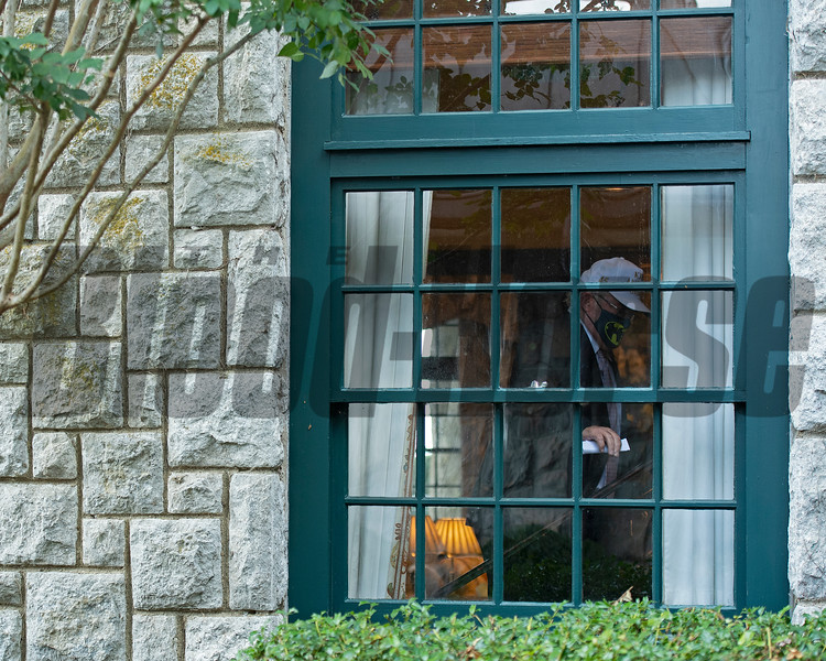 inside the clubhouse and masked up and heading upstairs<br /> Scenes at Keeneland  on October 3, 2020.
