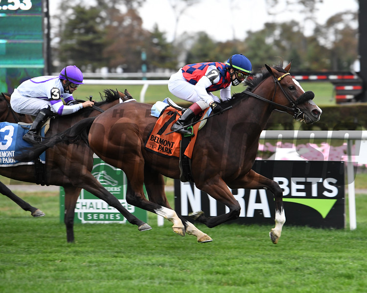 Royal Approval wins the Matron Stakes Sunday, October 11, 2020 at Belmont Park. Photo: Coglianese Photos/Janet Garaguso