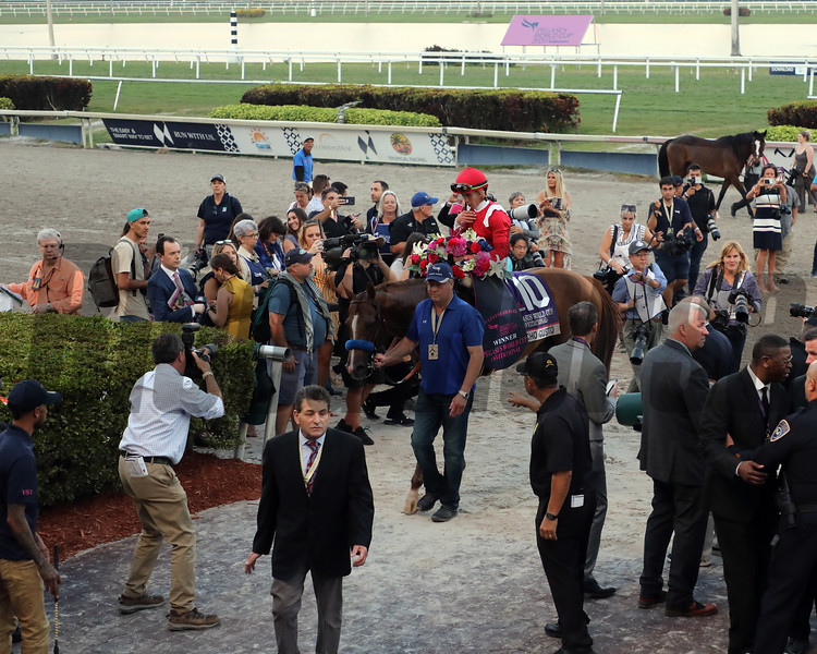 Mucho Gusto with Iran Ortiz Jr up wins the 2020 Pegasus WC for trainer Bob Baffert and owner HH Prince Faisal bin Khaled