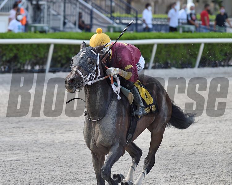 Noble Drama wins the Benny The Bull Stakes Sunday, September 6, 2020 at Gulfstream Park. Photo: Coglianese Photos/Ryan Thompson
