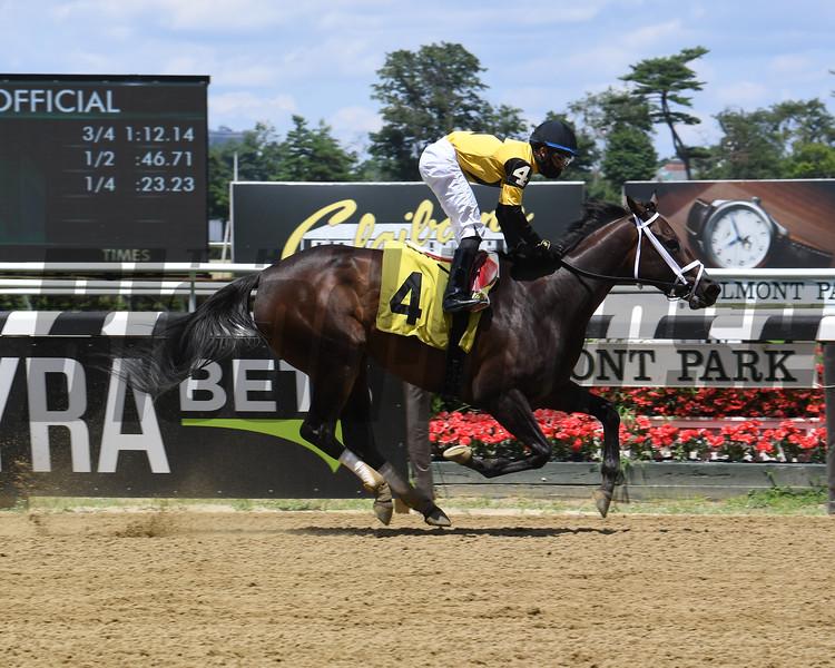 Desbordes wins a claiming race Sunday, July 12, 2020 at Belmont Park. Photo: Coglianese Photos