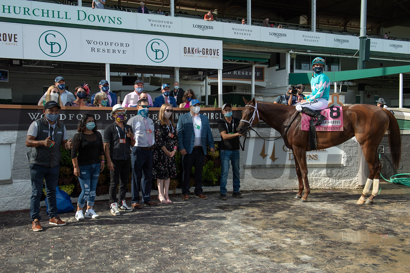 Monomoy Girl wins the La Troienne Stakes Friday, September 4, 2020 at Churchill Downs. Photo: Anne M. Eberhardt