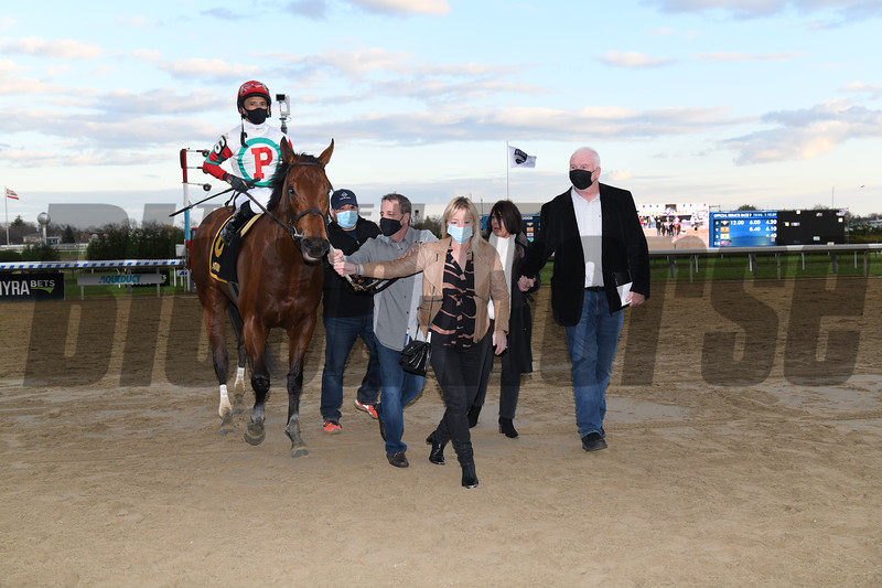 Turned Aside wins the 2020 Aqueduct Turf Sprint Championship Stakes<br /> Coglianese Photos
