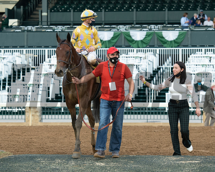 Diamond Oops with Florent Geroux wins the Stoll Kenos Ogden Phoenix (G2) at Keeneland and walks in with Andie Biancone.<br /> Opening day of the Keeneland fall meeting on October 2, 2020.