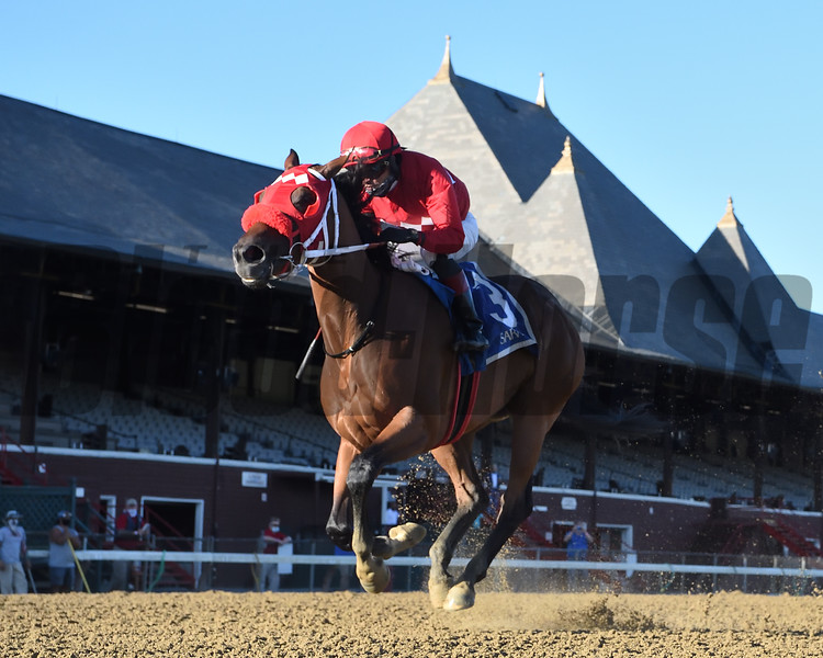 Letruska wins the Shuvee Stakes Sunday, August 30, 2020 at Saratoga. Photo: Coglianese Photos/Chelsea Durand