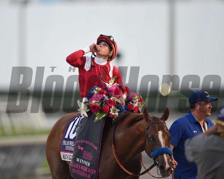 Mucho Gusto wins 2020 Pegasus World Cup Invitational at Gulfstream Park. Photo: Coglianese Photos/Tim Sullivan