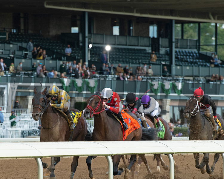 Diamond Oops with Florent Geroux wins the Stoll Kenos Ogden Phoenix (G2) at Keeneland.<br /> Opening day of the Keeneland fall meeting on October 2, 2020.