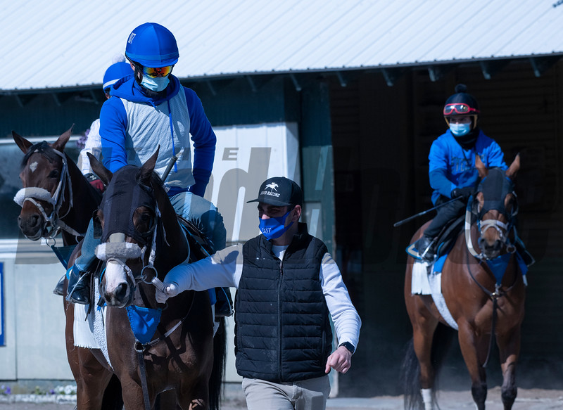 Assistant trainer Kevin Bond of Bond Racing leads horses to the main track at Belmont Park Wednesday, May 20, 2020 in Elmont, N.Y. with the exercise riders using a face masks in compliance with the safety protocols at the New York tracks. Photo by Skip Dickstein