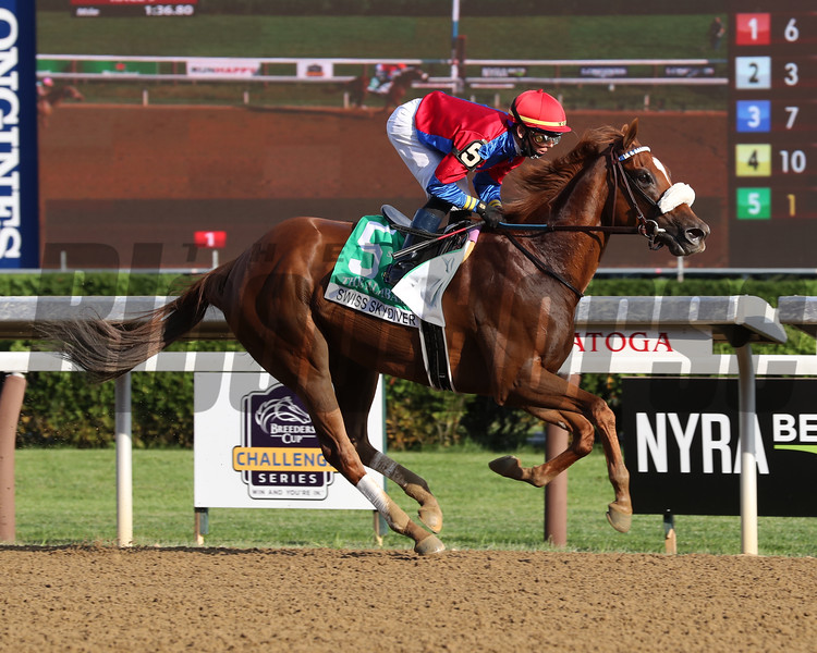 Swiss Skydiver wins the 2020 Alabama Stakes at Saratoga<br /> Coglianese Photos/Janet Garaguso