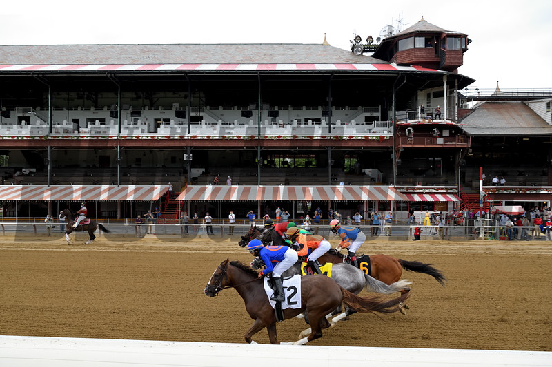 First Race of the 2020 Meet at Saratoga, won by Grit and Glory (#2).<br /> Owner: Drawing Away Stable, Trainer: Linda Rice, Jockey: Luis Cardenas <br /> Coglianese Photos/Susie Raisher