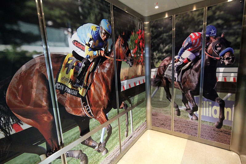 An elevator at Monmouth Park with photos American Pharoah and Bayern on July 18, 2020. Photo By: Chad B. Harmon