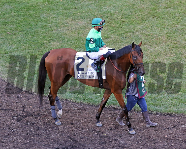 Dunbar Road with Irad Ortiz in the paddock prior to winning the 83rd Running of the Delaware Handicap (GII) at Delaware Park on July 11, 2020. Photo By: Chad B. Harmon