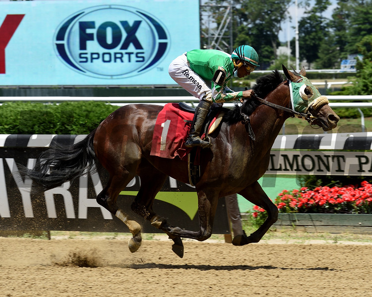 Hold the Salsa wins a maiden special weight Sunday, July 12, 2020 at Belmont Park. Photo: Coglianese Photos/Chelsea Durand