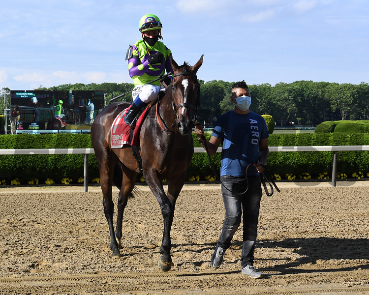 Rushing Fall wins the Beaugay Stakes Wednesday, June 3, 2020 at Belmont Park. Photo: Coglianese Photos