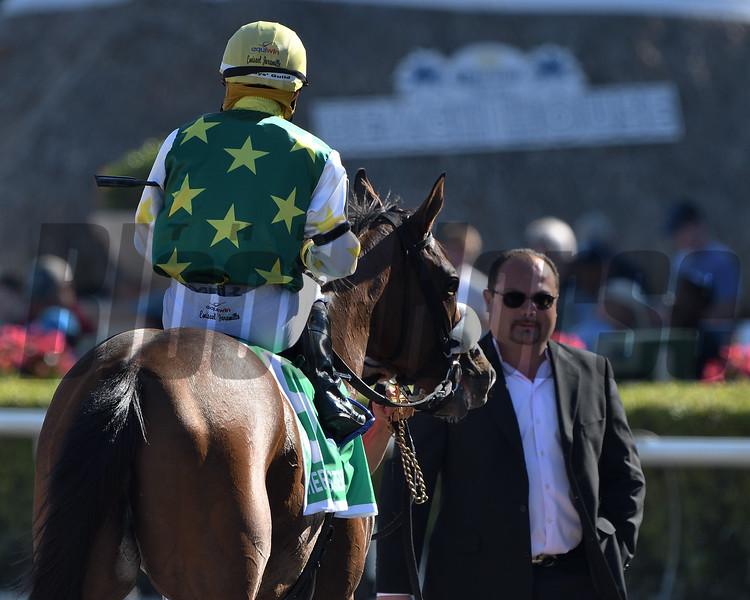 Cheermeister wins the 2020 Herecomesthebride Stakes at Gulfstream Park. Photo: Coglianese Photos/Derbe Glass