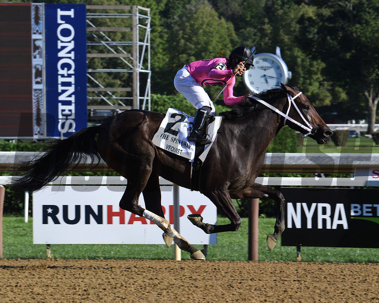 Vequist wins the Spinaway Stakes Sunday, September 6, 2020 at Saratoga Race Course. Photo: Coglianese Photos/Susie Raisher