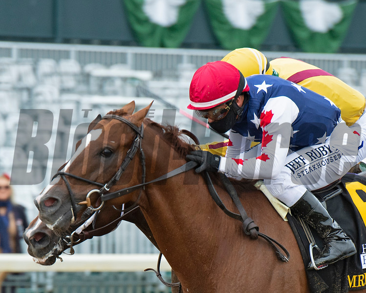 Mr Freeze with Javier Castellano wins the Hagyard Fayette (G2) at Keeneland on October 3, 2020. Photo: Anne M. Eberhardt