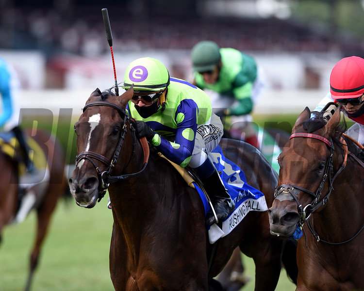 Rushing Fall wins the Diana Stakes Sunday, August 23, 2020 at Saratoga Race Course. Photo: Coglianese Photos/Chelsea Durand