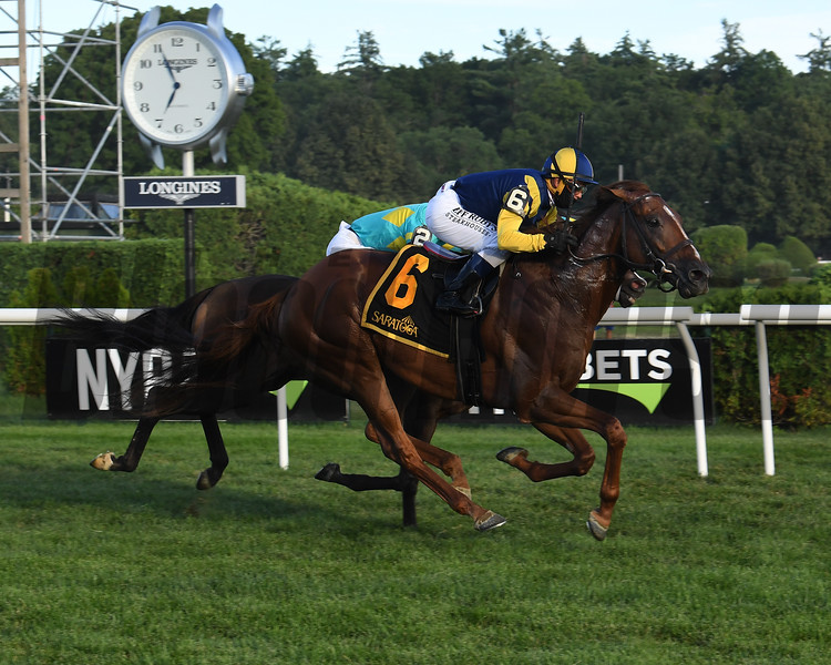 Cross Border wins the Bowling Green Stakes Saturday, August 1, 2020 at Saratoga. Photo: Coglianese Photos
