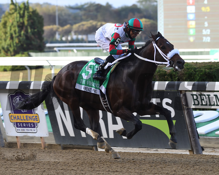 Firenze Fire wins the 2020 Vosburgh Stakes at Belmont Park<br /> Coglianese Photos