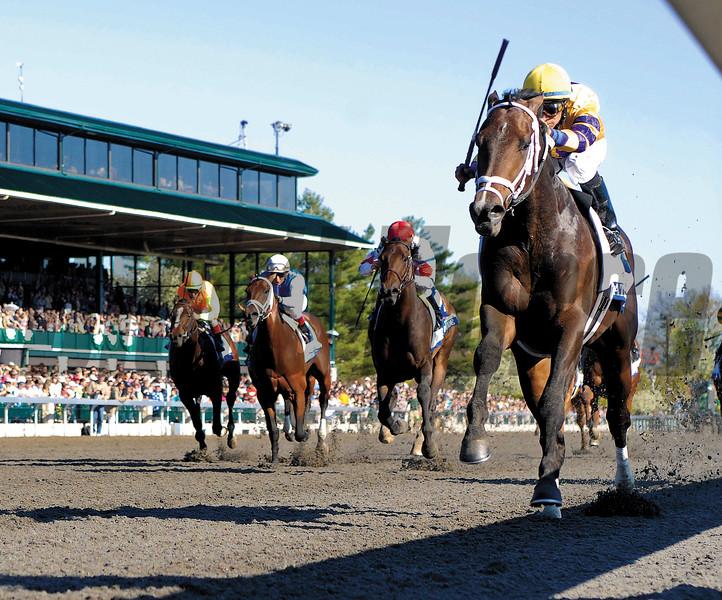 Stately Victor, Alan Garcia up, wins the Bluegrass Stakes, Keeneland Race Track, Lexington, KY, Mathea Kelley, 4/10/10
