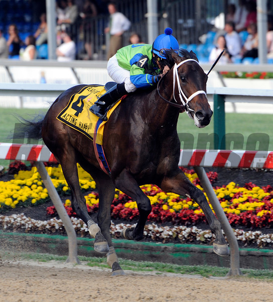 Acting Happy wins the 86th running of the Black-Eyed Susan at Pimlico Race Course in Baltimore, Maryland May 14, 2010.  Photo by Skip Dickstein
