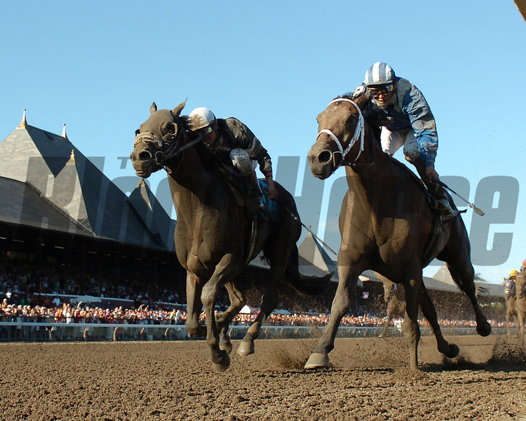 Invasor (right) holds off Sun King to win the 2005 Whitney at Saratoga<br /> Coglianese Photos