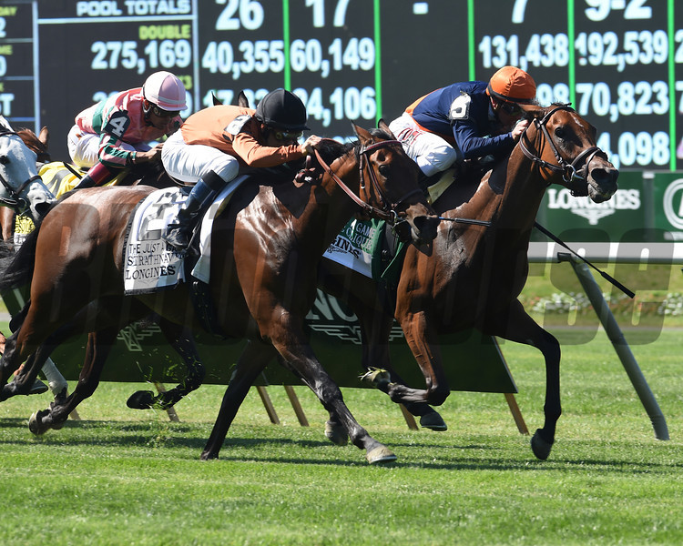 Coffee Clique wins the 2014 Longines Just a Game Stakes.<br /> Coglianese Photos/Dave Alcosser