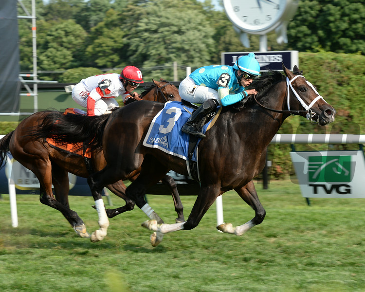 Wallyanna wins the 2014 National Museum of Racing Hall of Fame Stakes at Saratoga.<br /> Coglianese Photos/Chelsea Durand