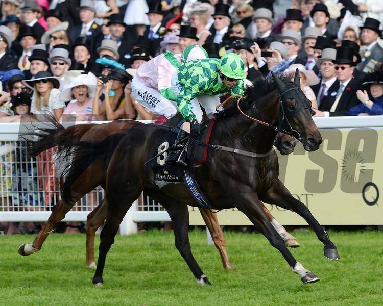 louis the pious, silvester de dousa up, wins the Buckingham Palace Stakes , Royal Ascot, Ascot Race Course, England, 6/20/14 photo by Mathea Kelley