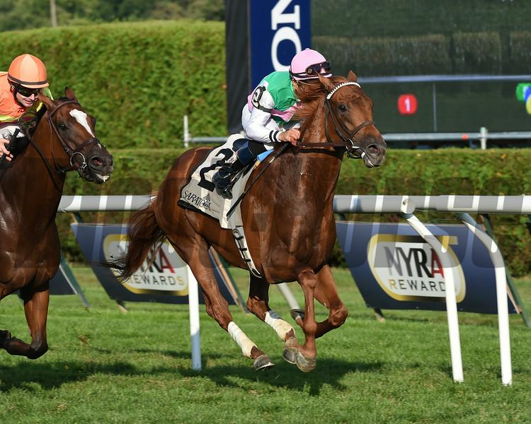 Seek Again wins the 2014 Fourstardave at Saratoga.<br /> Coglianese Photos