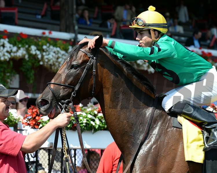 King Kreesa wins the West Point Stakes at Saratoga 8/24/2014.<br /> Coglianese Photos