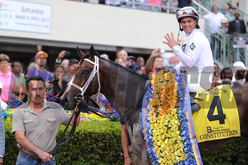 Constitution wins the 2014 Florida Derby at Gulfstream Park.<br /> Coglianese Photos/Leslie Martin