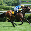 Spring to the Sky rides to victory in the Lucky Coin Stakes at Saratoga. <br /> Photo by: Adam Coglianese/NYRA