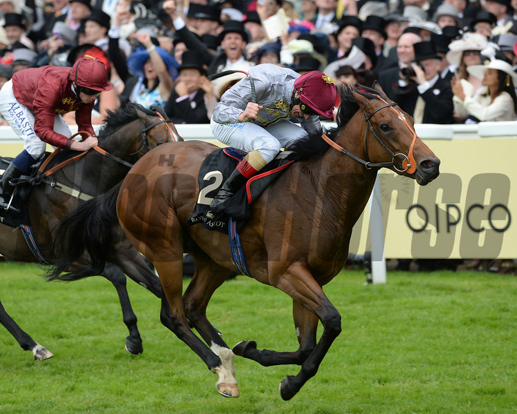 Baitha Alga, Frankie Dettori Up, wins the Norfolk Stakes, Royal Ascot, Ascot Race Course, England, 6/19/14 photo by Mathea Kelley