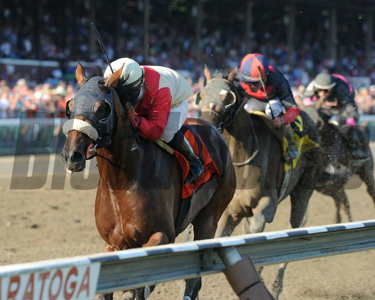 Wicked Strong wins the 2014 Jim Dandy at Saratoga.<br /> Coglianese Photos/Adam Mooshian
