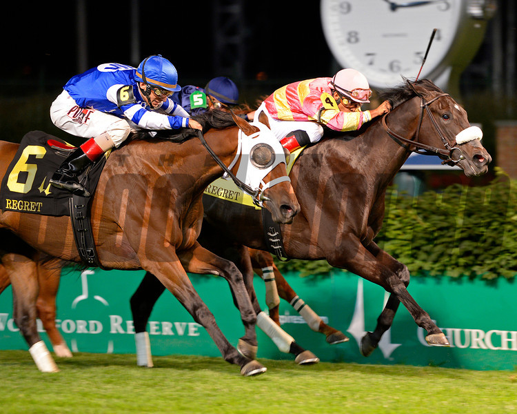 Caption:<br /> Through disqualification #6 Aurelia's Belle with John Velazquez wins the Regret (gr. III)  at Churchill Downs on June 14, 2014. #4 A Little Bit Sassy was taken from first to fourth.<br /> Regret image597<br /> Photo by Anne M. Eberhardt