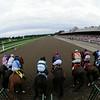 V. E. Day wins the 2014 Travers Stakes at Saratoga.<br /> Coglianese Photos/Adam Mooshian