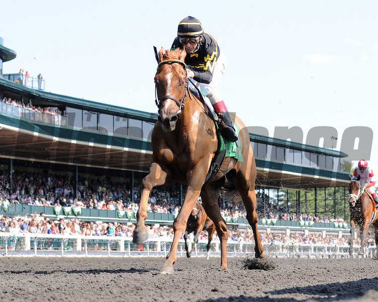 Keeneland Spring 2014; Lexington; KY; photo by Mathea Kelley, Judy the Beauty, john Velazquez up; wins the Madison Stakes, 4/12/14;