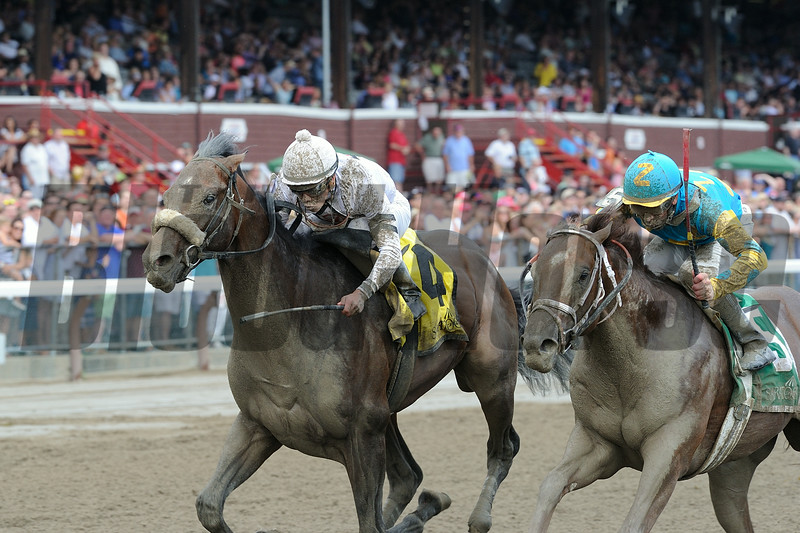Big Trouble wins the 2014 Sanford Stakes at Saratoga.<br /> Coglianese Photos/Adam Mooshian
