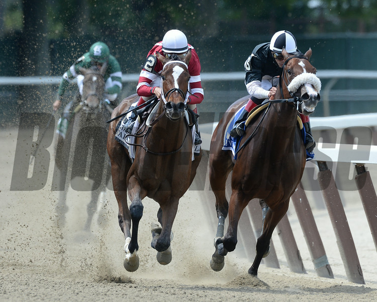 Untapable wins the 2014 Mother Goose at Belmont Park.<br /> Coglianese Photos/Joe Labozzetta