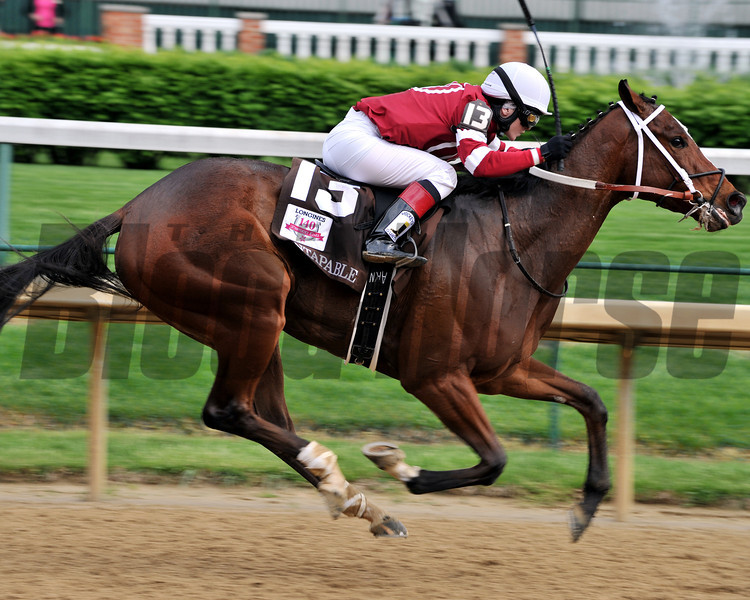 Untapable wins the 2014 Kentucky Oaks.<br /> Dave Harmon Photo